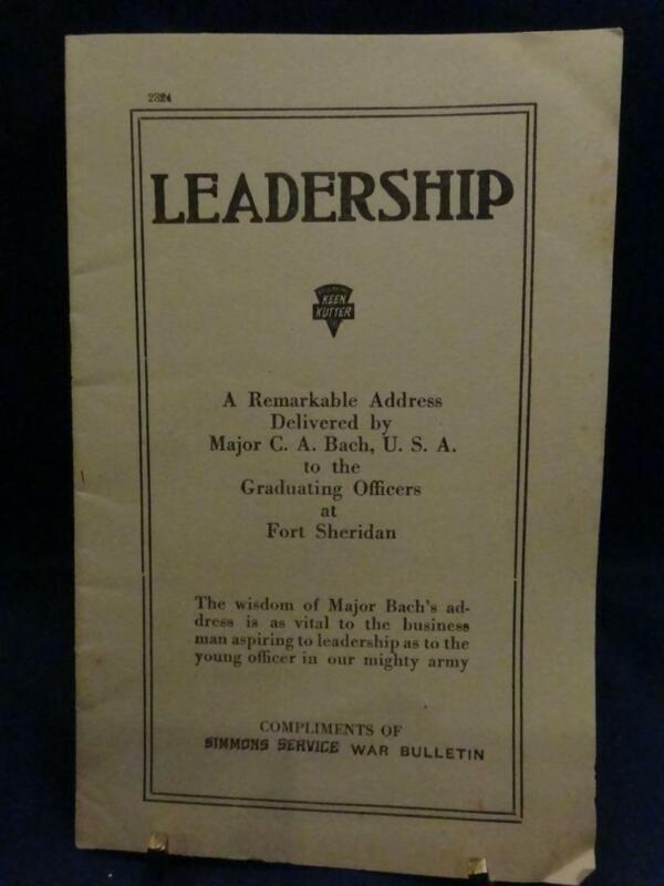 "WWI Keen Kutter Simmons Service War Bulletin ""Leadership"" Address by Major Bach"