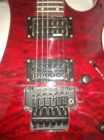 Electric guitar, brand, Vintage Metal AXXE-Wraith, blood red, 24 frets etc.