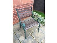 Solid wood and cast iron garden chair £30 can deliver if local call 07812980350