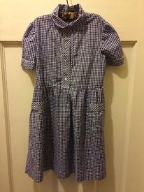 School dress (navy gingham) & hairband