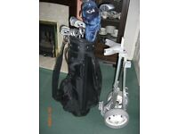 Set of Howson golf clubs, bag and trolley