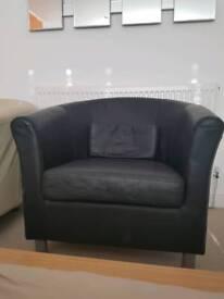 Black leather Ikea barrel arm chair