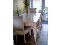 Stunningly Beautiful Dining Table with 6 Chairs and 2 Extension Sections