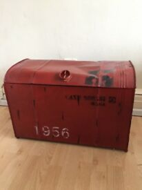 Red Industrial Style Trunk Storage Unit Blanket Box Bed Box