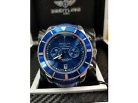 New boxed with papers blue leather bracelet blue dial blue bezel Breitling Superocean watch sweep
