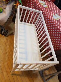 White Crib and Foam Mattress