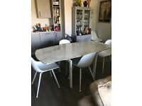 """marble effect ceramic dining table plus six chairs. Like brand new. Measures 47"""" £500. Ono."""
