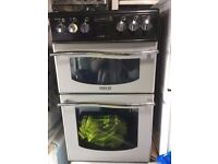 BLACK/SILVER LEISURE CHROME DESIGN FREE STANDING 60cm ELECTRIC COOKER FOR SALE, EXCELLENT CONDITION