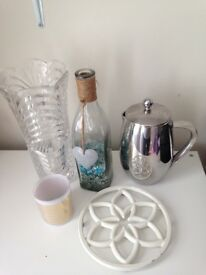 Vase, coffee pot, decorative bottle, candle holder and pan stand