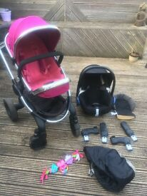 Pink icandy travel system pushchair