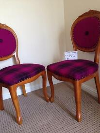REFURBISHED & FULLY. RECOVERED STAG & HARRIS TWEED CHAIRS & FOOTSTOOLS/ STOOL NEW MADE CUSHIONS