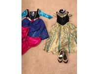 Disney Anna Costumes age 3-4, including genuine disney coronation Anna shoes size 7-8