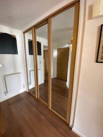 Shaker Full Length Mirror Oak Effect Sliding Wardrobe Doors