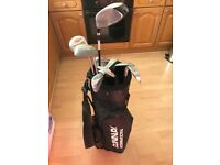 Golf clubs, bag, balls, tees, glove