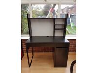 Ikea Micke Desk / Workstation inc.shelf & whiteboard (Black / Brown) - with Office Chair