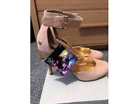 Blink Beige Ankle Strap Court Shoe
