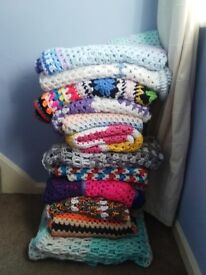 variety of colourful blankets