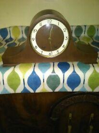 vintage wooden mantle bell clock