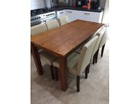 Dining table with 6 faux leather chairs good condition