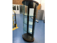 Wooden and Glass Oval Shaped Tall Lockable Display Cabinet with Key