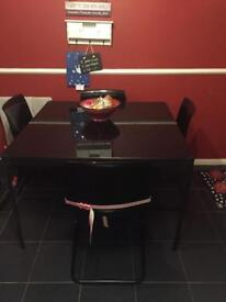 Glass Black Table & 4 Chairs