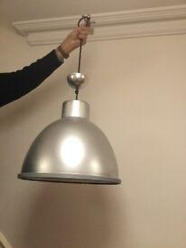 Brushed aluminium ceiling pendant light