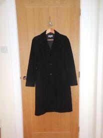 Stylish Black Wool Rich Blend Coat by M&S