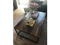 Rustic Reclaimed Wood / Black Iron Coffee Table