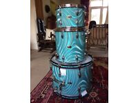 1965 Slingerland Drum Kit - Blue Satin Flame - All Original - Excellent Condition!