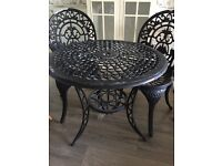 Bistro Set Black 2 Chairs (iron) 70 cm diameter Collection Old Portsmouth
