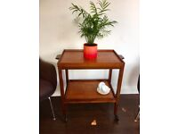 Vintage Mid Century Teak Drinks Trolley With Removable Trays
