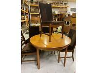 White and Newton Retro round teak extending dining table