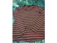 Next red and grey striped maternity T-shirt. Size 8