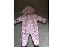 0-3 months baby girl snowsuit