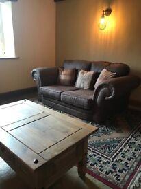 Soft tan leather sofa 3 Seater