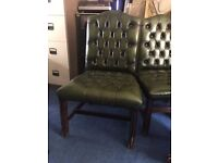 Genuine Chesterfield Leather Antique Green Chairs