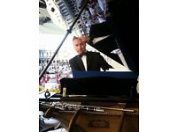 Pianist for events & weddings - with White Baby Grand Piano Shell