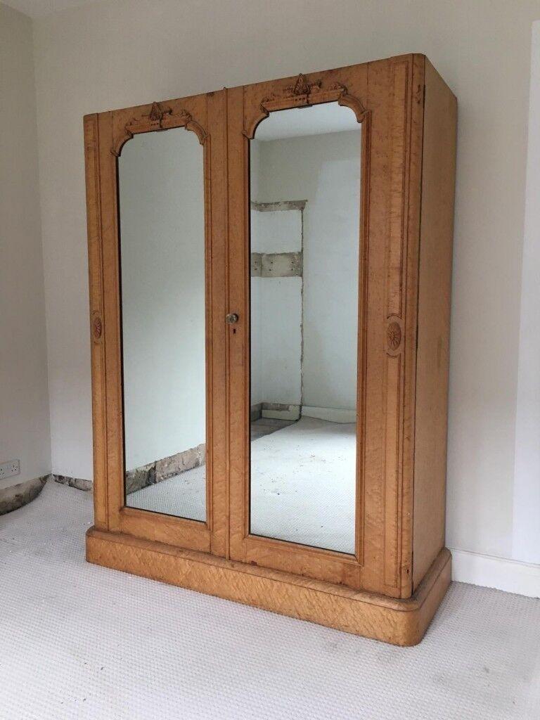 Antique french armoire wardrobe with mirror vintage birds eye maple wood