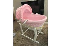 Moses basket pink/White Wicker + 5 sheets