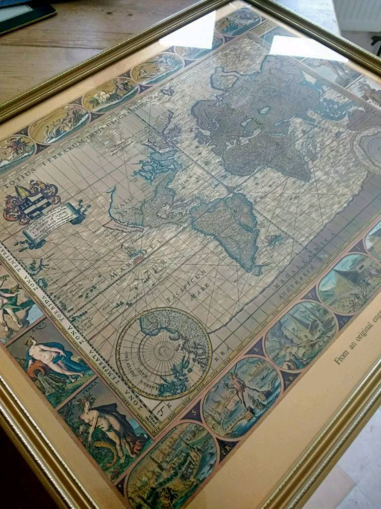 RARE Moses Pitt World Map Gold Engraving Picture In South - Floor to ceiling world map