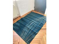 Good condition two blue rugs waiting to be picked up