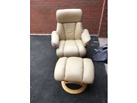 Leather recliner chair and foot stool