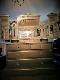 Met silver hand painted revamped dressing table