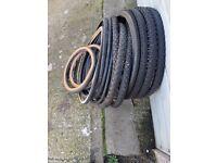 Various used bike tyres