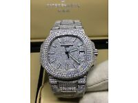 Patek Phillipe nautilus 5711 iced diamond automatic gold silver Audemars Piguet Rolex Cartier Santos