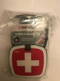 Wenger Jumbo luggage tag, suitcase tags, holiday, airport, keyring, keyrings