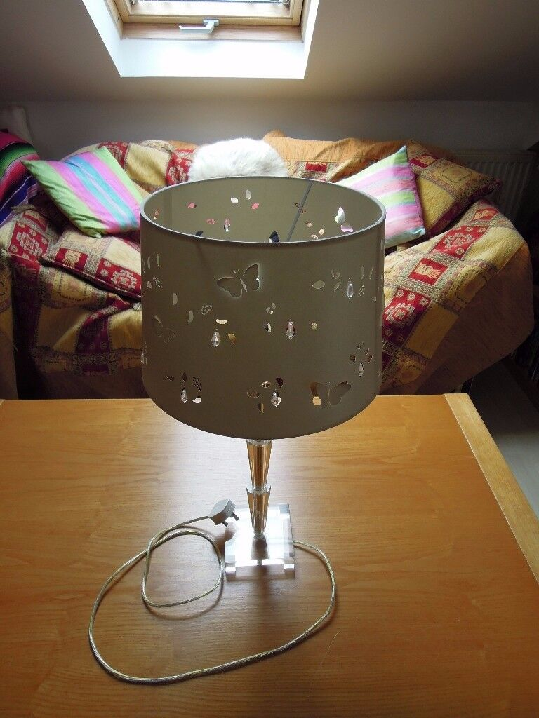 Beautiful and Unusual Laura Ashley Lamp and Base with Butterfly Shade