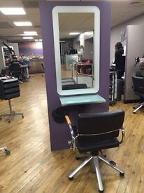 Hairdressing styling unit complete with,mirror,glass worktop,footrest,hydraulic chair& hand mirror