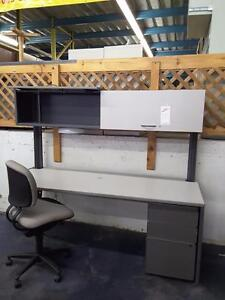 Workstation with Hutch and Pedestal