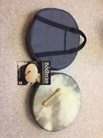 Bodhran Drum, Stick, Case & Book